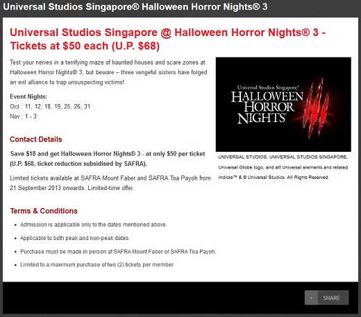 2013 USS Halloween Horror Nights 3 SAFRA Promotion