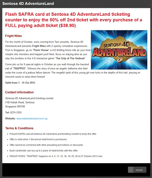 2013 Fright Nites Sentosa 4D Adventureland SAFRA Promotion